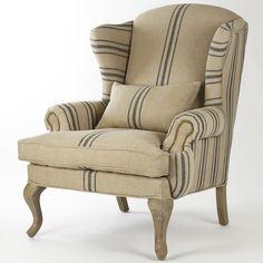 Love the single stripe down the front – Zacharie Khaki Linen English Wing Chair With Blue Stripe