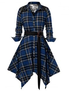 Plus Size Plaid Lace Panel Handkerchief Dress , Plus Size Outfits For Summer, Outfits Plus Size, Plus Size Casual, Blouse Dress, Plaid Dress, Dresses For Teens, Casual Dresses, Plus Size Dresses Australia, Outfits Spring