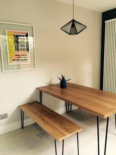 Recently completed flat renovation in East Dulwich SE22- sourcing and styling by Imperfect Interiors for Lightbox property developers. Mid Century print, Heals Brunel table & bench. imperfectinteriors.co.uk