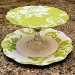 DYI - Tiered Serving Platters (Nice hostess gift idea with a cheese ball & crackers.)