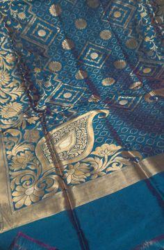Blue Katan Silk Weaved Banarasi Saree