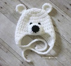 Polar Bear Hat Pattern Repeat Crafter Me: Crochet Polar Bear Hat Pattern includes modification notes to make for adults also!Repeat Crafter Me: Crochet Polar Bear Hat Pattern includes modification notes to make for adults also! Crochet Kids Hats, Crochet Beanie, Crochet Crafts, Crochet Projects, Free Crochet, Easy Crochet, Crochet Animals, Crochet Baby Boy Hat, Crocheted Hats