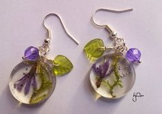 Ice resin earrings with a real dried flowers byRima on Etsy