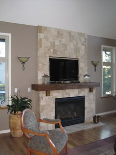 Mantels: Rustic Reclaimed Wood Mantels.  I only like the mantle is this picture not the tile.