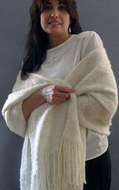 Handwoven luxurious ivory white shawl by Shawltique on Etsy, $125.00