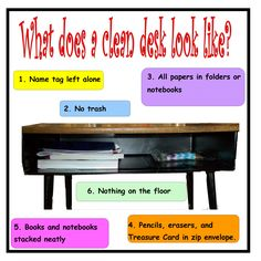 Clean Desk: week before school starts, make one up, take picture, make a class poster to display. Teach first month of school. Praise, award, reward.