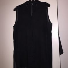 Kenneth Cole Black Top Sheer Black Top. Back pleats from top to bottom of top. Swing style shirt. Kenneth Cole Tops Blouses