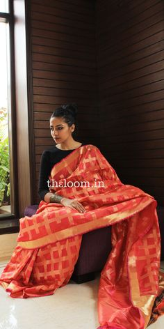 Handwoven Red Silk Saree