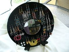 Earring holder made from a vinyl record. How cute!