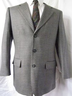 Jacket 38 Short Protocol Bowhill Houndstooth Tweed Wool Sport Blazer Coat Gray Blazer Jacket, Leather Jacket, Business Formal, Ebay Auction, Houndstooth, Mens Fashion, Fashion Trends, Tweed, Classic Style