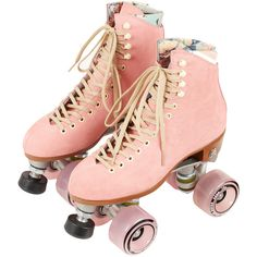 Moxi Pink Roller Skates (550 CAD) ❤ liked on Polyvore featuring shoes, sneakers, fillers, accessories, boots, pink, pink sneakers, leather trainers, pink leather shoes and leather sneakers