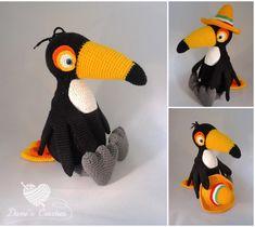 Haakpatroon Dani's Creaties Toekan Rico Crochet Parrot, Crochet Birds, Cute Crochet, Crochet Animals, Amigurumi Toys, Crochet Patterns Amigurumi, Crochet Toys, Knitting Patterns, Tier Zoo