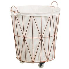 Copper Laundry Hamper with Wheels. Keep all your laundry neat and tidy with this laundry hamper. The handy wheels allow you to move it from room to room.