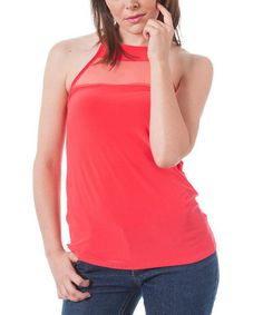 Love this Coral Sheer Cross-Back Tank by Magic Fit on #zulily! #zulilyfinds