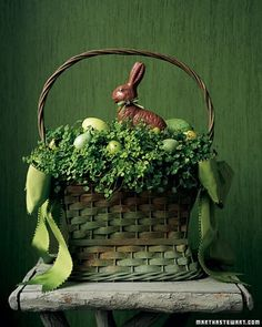 Vintage Easter Decorations Cute green basket with greenery, green eggs and chocolate bunny! Cute for Easter. Hoppy Easter, Easter Eggs, Easter Bunny, Easter Food, Easter Parade, Easter Colors, Easter Celebration, Easter Table, Easter Dinner
