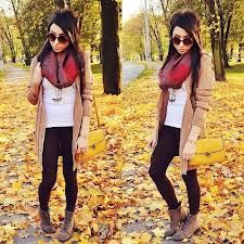 Red Print Scarf + White Long Tank + Tan Knit Long Cardigan + Black Cotton Leggings + Lace Up Ankle Boots Fall Winter Outfits, Autumn Winter Fashion, Ankle Boots, Tan Boots, Fall Fashion Trends, Fashion Outfits, Womens Fashion, Look Cool, Passion For Fashion