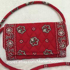 Vera Bradley Strap Wallet Messenger Crossbody Purse Handbag Red Bandana Trifold | eBay