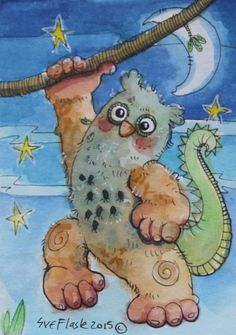 Dragot - 2015 by Sue Flask ACEO Original Gouache Painting Card Miniature Fantasy #Miniature SOLD