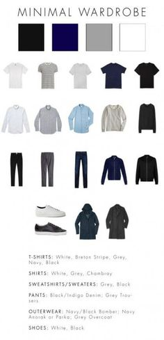 Some male fashion advice: A basic, minimal wardrobe - Best minimal fashion styles delivered right to you ! Visit us now for great deals, ideas and products ! Capsule Wardrobe Men, Mens Wardrobe Essentials, Men's Wardrobe, Simple Wardrobe, Wardrobe Basics, Wardrobe Ideas, Trend Fashion, Look Fashion, Fashion Outfits