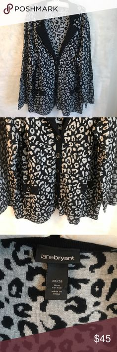 LANE BRYANT BLACK & GREY CHEETAH CARDIGAN 26/28 LANE BRYANT BLACK & GREY CHEETAH CARDIGAN 26/28. Beautiful Sweater/Cardigan. Excellent, Like New Condition!  Women's Size 26/28 Lane Bryant Sweaters Shrugs & Ponchos