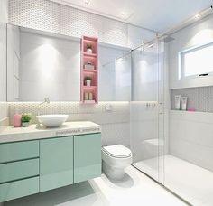 O banheiro mais fofo Living Room Modern, Living Room Designs, Ensuite Bathrooms, Bathroom Toilets, Washroom, Baden, Porter Davis, Candy Colors, Toilet Design