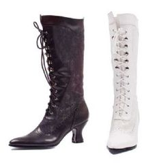 2.5 inch Chunky Heel Womens Knee High Lace Up Costume Boots comes in a eye catching solid black or white colors with s lace-up design to accessorize womens 70s, disco, vampiress, cowgirl, and a variety of other costumes.The slip on feature with lace up design ensure a snug fit every time. Designed for comfort and is built to last.2.5 inch Chunky Heel Womens Knee High Lace Up Costume Boots Details: Color: Black, WhiteAvailable in sizes 6 - 10