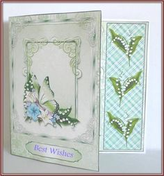 Green floral butterfly assymetric card mini kit on Craftsuprint designed by Sharon Poore - made by Rae Trees - I printed the design on good quality matte photo paper and simply just cut, scored and added the insert. I added my own sentiment. This is a great design, quite impressive. - Now available for download!