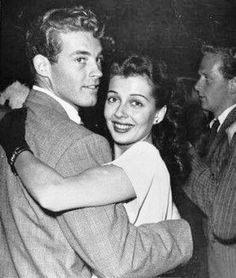 Guy Madison and his new bride, actress Gail Russell, enjoying the Hollywood nightlife, 1949.