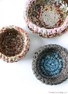 the red thread fabric crochet baskets tutorial