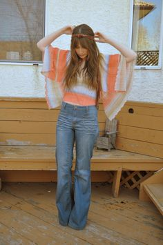 Discover this look wearing Salmon Forever 21 Blouses, Sky Blue Forever 21 Jeans tagged wide leg denim jeans high waisted - an ode to denim. 70s Inspired Fashion, 70s Fashion, Wide Leg Denim, Wide Leg Trousers, Bell Bottom Pants, Bell Bottoms, New Outfits, Cute Outfits, Sweet Jeans