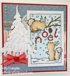 Made for Lili Of The Valley using Squirrels Noel Stamp. August Challenge, Lily Of The Valley, Squirrels, I Card, Cardmaking, Card Ideas, Christmas Cards, Stamps, Crafting