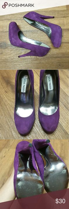 Steven Madden heels Gorgeous PURPLE suede!! Great condition! Just wear on the bottom of shoes.  They fit like a size 6.5 Steve Madden Shoes Heels