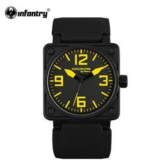 INFANTRY Mens Quartz-watches Military Square Face Watches Analog Male Clock Tactical Army Black Silicone Band Free Shipping