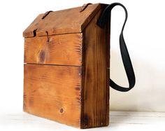 Grande francese in legno MESSENGER BAG  con di RueDesLouves