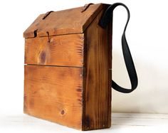 Great  french WOODEN  MESSENGER BAG  with leather by RueDesLouves, $75.00