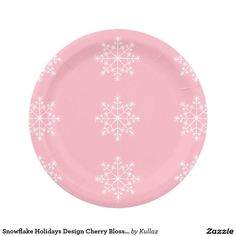 Snowflake Holidays Cherry Blossom Pink Christmas Paper Plate  sc 1 st  Pinterest & Holiday Snowflake with Silver Glitter Paper Plate | Snowflakes ...