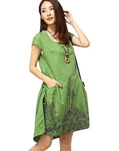 Minibee Summer Short Sleeve Knee Length Print Dress Green M Minibee http://www.amazon.com/dp/B0113XM0QE/ref=cm_sw_r_pi_dp_agDNvb0K3PYB3