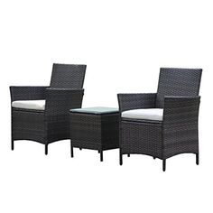 Patio Rattan Outdoor Garden Furniture Set of 3PCS Wicker Chairs With Table *** Check out this great product. Note: It's an affiliate link to Amazon
