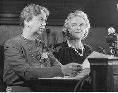 Eleanor Roosevelt and Clementine Churchill during a radio broadcast at the Second Quebec Conference. September 1944.