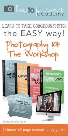 Transform your photography in 4 weeks with Key to Photography 101: The Workshop! Learn how you can take professionally looking photos in a simple, easy to understand way. This 65-page, 4-video course is perfect for you and covers Camera Gear & Exposure, Camera Settings & Lighting, Shooting & Composition, and Editing!!