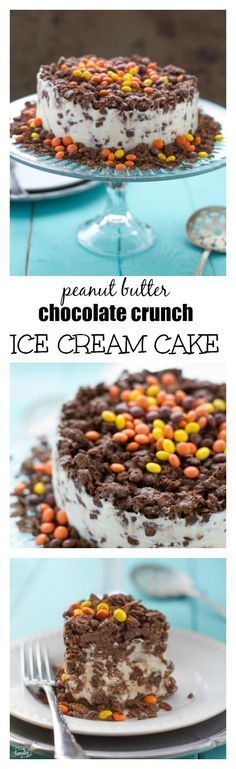 Peanut Butter Chocolate Crunch Ice Cream Cake - Just 5 ingredients! Super easy and amazingly delicious! Perfect for a crowd!