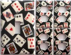 Playing Cards Games Poker Man Cave Light Switch Cover Set 1&4 Bedroom Wall Décor.