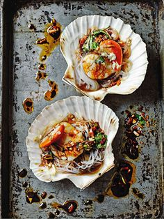Steamed scallops with garlic and vermicelli | by Jeremy Pang, Photography by Martin Poole