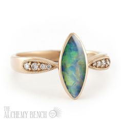Unique Opal Engagement Ring with Accent Diamonds Instead of a Center Diamond - Set in Rose Gold... for the Nonconformists out there! | The Alchemy Bench #BridalTransformed