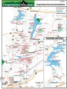 Map of Cooperstown, NY and surrounding area. Find the best rental accommodations near your baseball tournament. Cooperstown All Star Village, Cooperstown Dreams Park, Cooperstown New York, Map Of New York, New York Travel, New York Summer, Cherry Valley, Center Park, Park Lodge