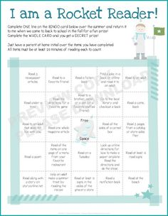 Summer Reading Rockets - BINGO Style!