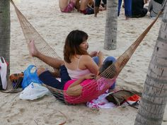 Relaxing in the beach at Sentosa Island