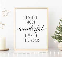 Most Wonderful Time of the Year Printable Art, Christmas Decor, Christmas Quote Print, Christmas Printable Wall Art *INSTANT DOWNLOAD* Office Printers, Printing Websites, Bathroom Art, Christmas Quotes, Time Of The Year, Christmas Printables, Quote Prints, Nursery Art, Printable Wall Art