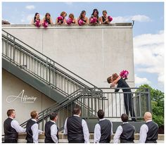 I thought it would be fun to have the bridesmaids and groomsmen in on the action as the bride descended to her groom mid-stairs.