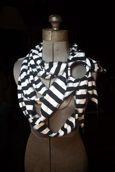 Draped jersey scarf - black and white stripes. $65